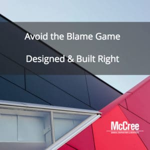 abstract image with text-avoid the blame game. designed and built right.