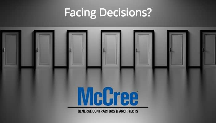 facing decisions. many doors to choose from.